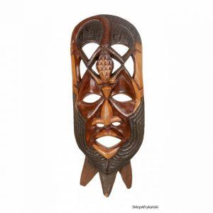 Maska afrykańska stojąca wykonana z mahoniu